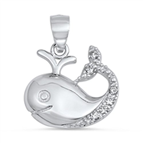 Animal Cute Baby Whale Pendant Clear Simulated CZ .925 Sterling Silver (Baby Whale Charm)