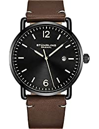 Leather Watch Brown Strap Black IP Plated Case with Black...