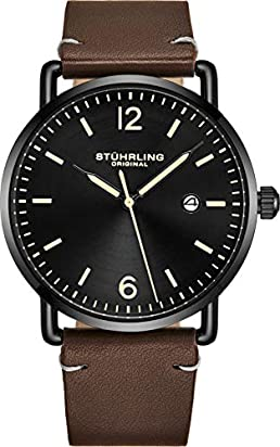 Stuhrling Original Leather Watch Brown Strap Black IP Plated Case with Black Dial - Minimalist Style 38mm Case with Date - 3901 Mens Watches Collection