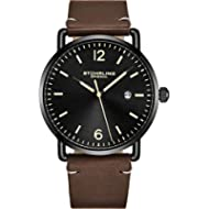 [Sponsored]Stuhrling Original Leather Watch Brown Strap Black IP Plated Case with Black Dial -...