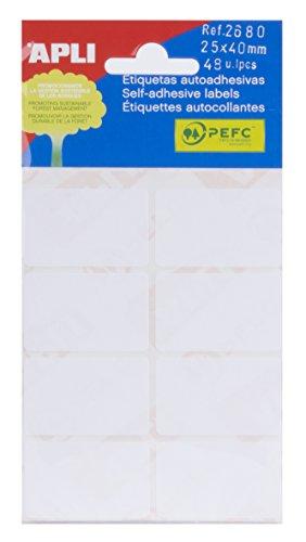 APLI 2680 - Etiquetas blancas adhesivo fuerte (25 x 40) 6 h