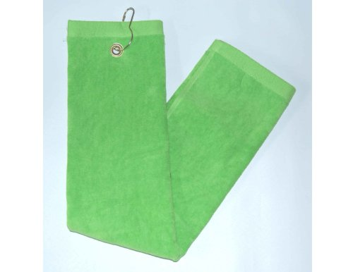 Lime Green Tri-Fold Golf, Hand Towel w/Grommet & (Cotton Sheared Terry Towel)