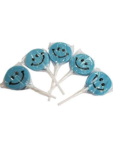 Smiley Face Lollipops - Small Happy Smiley Face Lollipops Powder Blue 12 Count