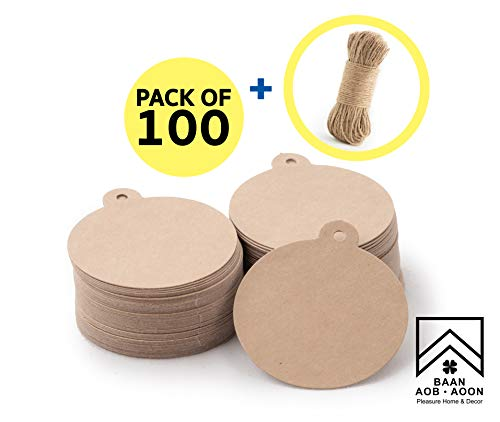 Kraft Paper Circle Gift Tag with Free Natural Jute Rope (100ft) for Wedding, Gift, Present, Favor, Craft, DIY, etc. | Pack of 100 / Brown