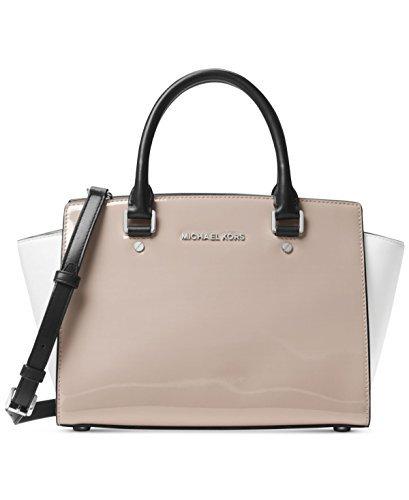 Michael Kors Women's Selma Medium Top Zip Satchel (Patent Dark Cement) (Monogram Handbag Suede)