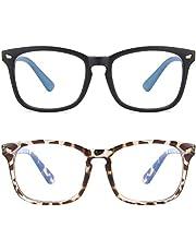 ASHOWIN (2paquetes) Gafas de Filtro de Luz Azul Lentes Antireflejantes Mujer y Hombres Lentes de Computadora para Anti Tensión de Ojos Lentes Transparentes Bloqueo UV