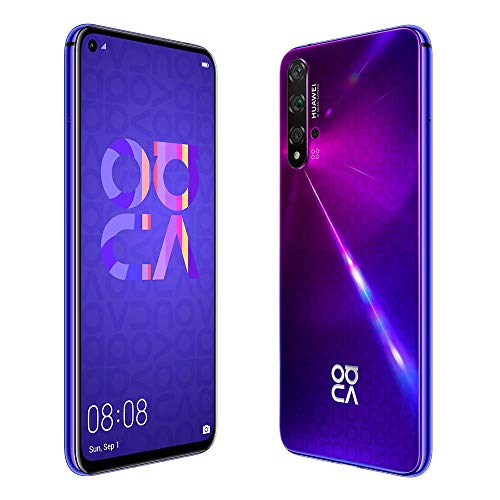 "Huawei Nova 5T (128GB, 8GB) 6.26"" LCD, Kirin 980, 48MP Quad Camera, 22.5W Fast Charge, Dual SIM GSM Unlocked Global 4G LTE International Model YAL-L21 (Midsummer Purple)"