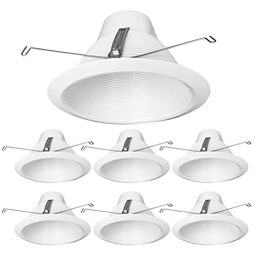 PROCURU 6-Pack 6-Inch Recessed Can Light Metal Trim, Cone Baffle Style, Air-Tight, IC-Rated, White (6-Pack) ()