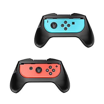 FastSnail Nintendo Switch Grip Kit, 2 Pack Joy-Con Grips, Handle Protect Case (Black) by Fastsnail