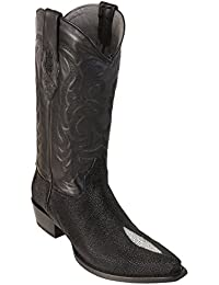 Men's Sinp Toe Single Stone Black Genuine Leather Stingray Skin Western Boots - Exotic Skin Boots