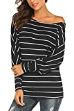 Qearal Womens Long Sleeve Striped Shirts Loose Casual Off Shoulder Tops Blouses XX-Large Black