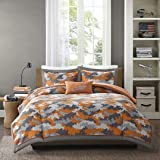 3pc Kids Boys Grey Orange Camouflage Comforter Twin/Twin XL Set, Army Camo Bedding Light Gray Colors Military Pattern Abstract Helicopter Pillow Teen Childrens, Polyester