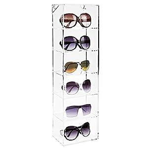Modern Clear Acrylic Wall Mounted Storage Organizer Rack / 6 Shelf Sunglasses Eyewear Display Case