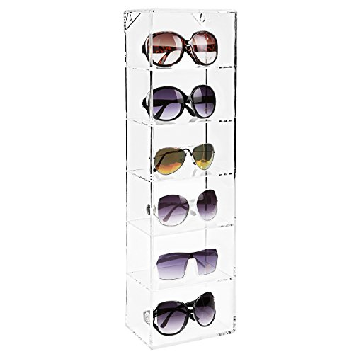Modern Clear Acrylic Wall Mounted Storage Organizer Rack / 6 Shelf Sunglasses Eyewear Display - Wall Sunglasses Display