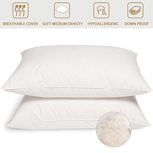 Peace Nest - Firm White Goose Down and Feather Pillows, 100% Cotton Cover, Standard/Queen Size, Set of (Queen Size Pillow Dimensions)