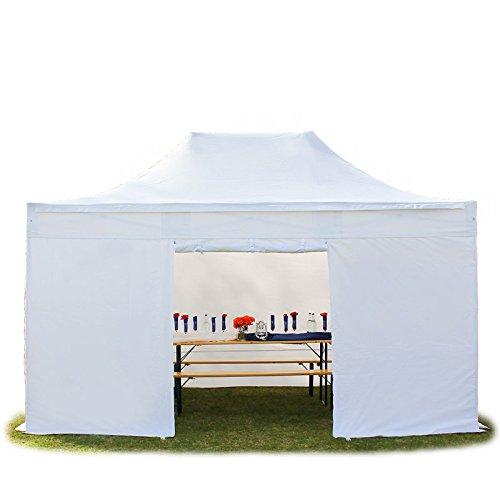 Faltpavillon Faltzelt Pavillon Klappzelt 4x6 m - ca. 400g/m² Plane + ca. 50mm Aluminiumgestänge - Zelt Partyzelt Gartenzelt Sonnenschutz Markstand Popup, mit 4 Seitenteilen, weiß