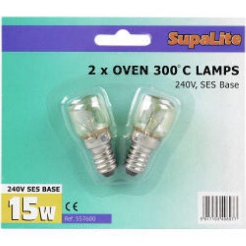 OVEN BULBS 300` C 240V SES BASE 15W BULB X 2 LAMPS SupaLite VDTAZ012B