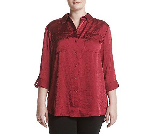 Jones New York Women's Plus Size Crushed Satin Equipment Shirt, Beet, 2X
