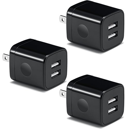USB Wall Charger, BEST4ONE 2.1A/5V Dual Port USB Plug Power Adapter Charging Block Cube Compatible with iPhone X 8/7/6 Plus SE/5S, Samsung, Google Pixel XL, LG, Kindle, Android Phone (3-Pack) Black
