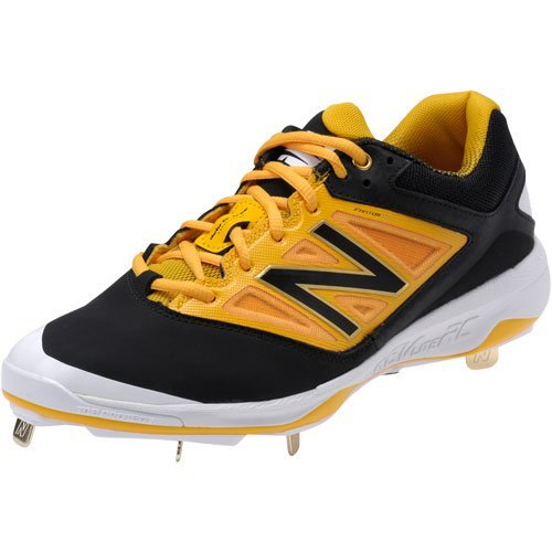 New Balance Mens L4040V3 Cleat Baseball Shoe, Black/Black, 10 2E US Black/yellow