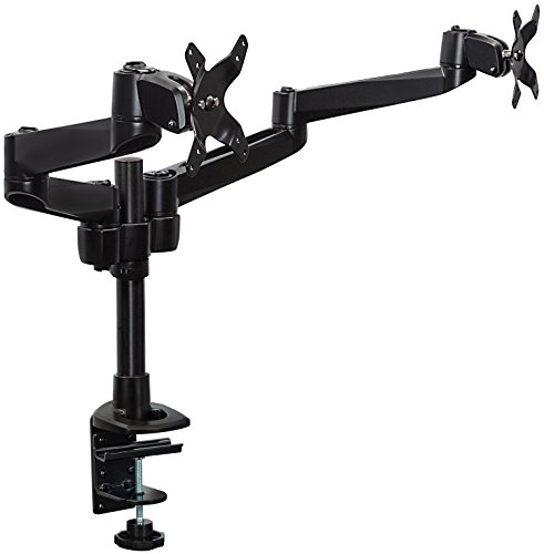 Mount-It! Dual Monitor Desk Mount Swivel Arm Quick Connect with Clamp Base (Black) by Mount-It!