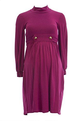 Olian Maternity Women's Long Blouson Sleeve Mock Neck Dress X-Small Rasberry