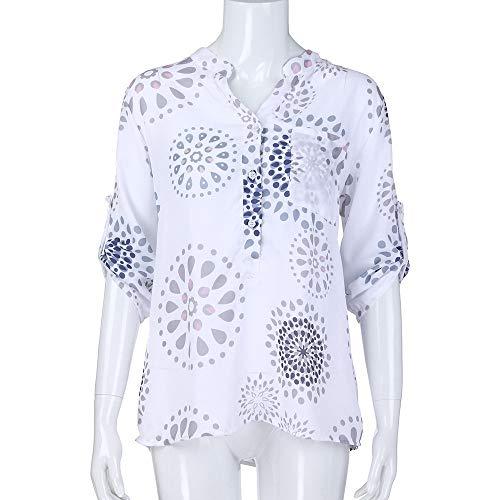 Blouse Lache Tops Manches Blanc Haut 4 Chemisier Size V 3 AIMEE7 Femme Imprimer Col Plus 8pvvg4q