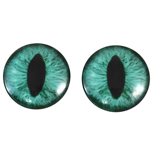 40mm Pair of Large Teal Cat Glass Eyes, for Jewelry making, Arts Dolls, Sculptures, and More by Megan's Beaded Designs