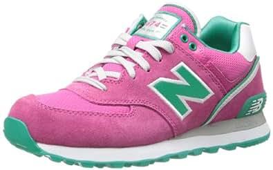 New Balance Women's WL574 Stadium Jacket Pack Running Shoe,Pink/Green,7 B US