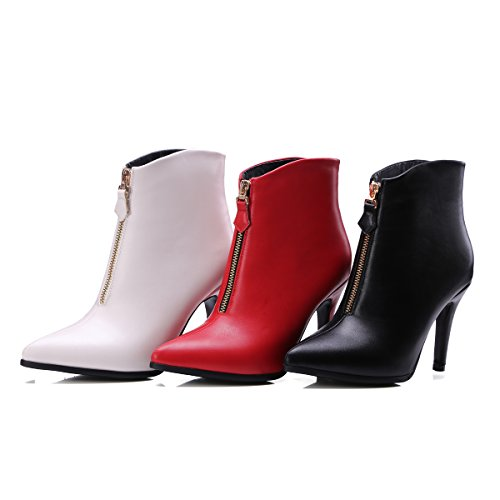 Boots Ankle Pointed Red Zipper Front Heels High Shoes Black thin AIWEIYi Womens toe Ultra SxwqqFRvf