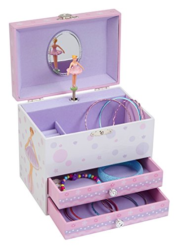 JewelKeeper White and Purple Ballerina Musical Jewelry Box with 2 Pullout Drawers, Swan Lake (Two Tune)