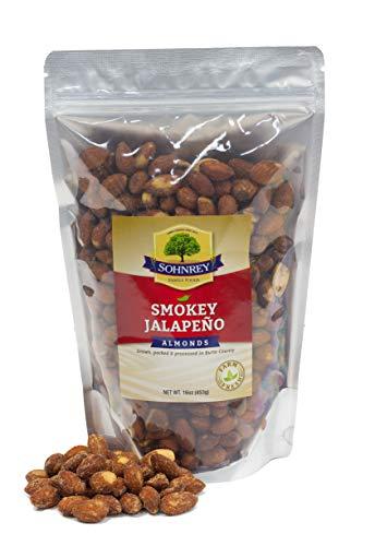 Smokey Jalapeno Spicy Almonds Bold Roasted Seasoned Snack Nuts from Sohnrey Family Foods 16 oz Single Bag