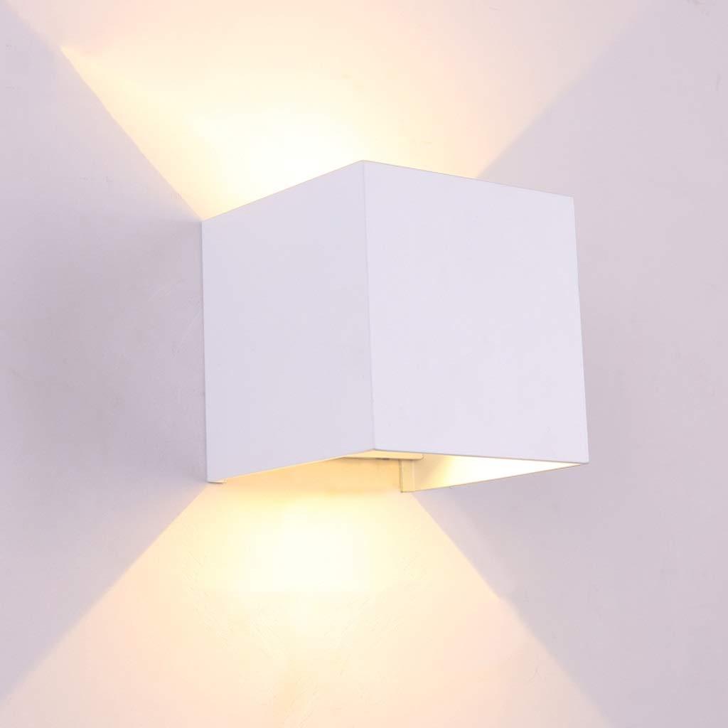 ウォールランプベッドサイドランプスクエアクリエイティブ通路ライトシンプルな壁の装飾ライト階段ライト (色 : 白) B07RTJWRJZ 白