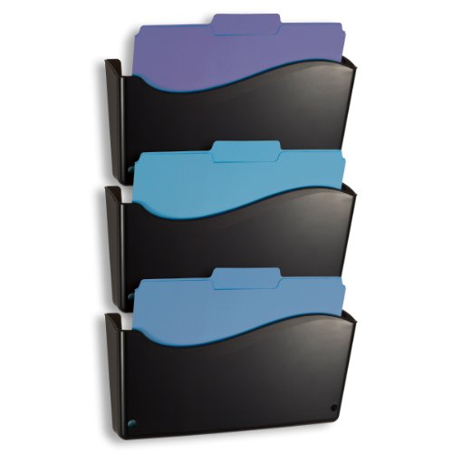 Officemate 2200 Series Executive Wall File, 3 Pack, 13 3/4 x 3 x 19 1/2 Inches, Black (Officemate Wall)