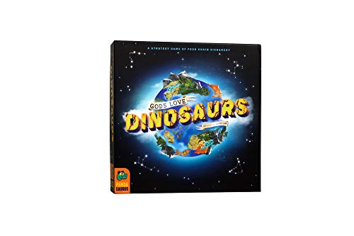 Gods Love Dinosaurs, A Strategy Game of Food Chain Hierarchy, The More Dinos Eat, The More Eggs Laid & More Points Scored, Domino Like Tile-Laying Game, 2-5 Players, 45-60 min, Ages 8 and Up