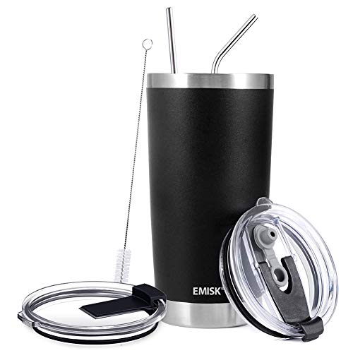 20oz Tumbler Double Wall Stainless Steel Vacuum Insulated Travel Mug with 2 Lids, 2 Straws, Brush, Leakproof Water Coffee Cup for Home, Outdoor, Office, Ice Drink, Hot Beverage