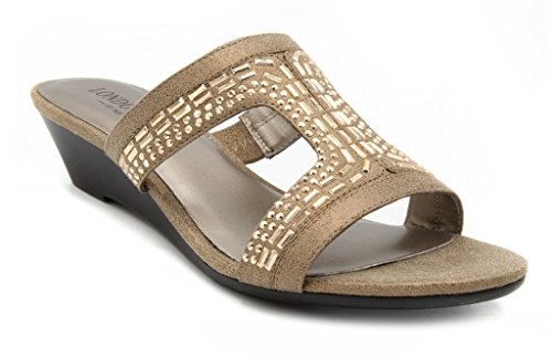 London Fog Carol Dress Wedge Sandals Silver 7 M US