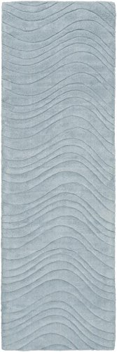 Surya Kinetic KNT-3107 Hand Loomed Wool Solids and Borders Runner Rug, 2-Feet 6-Inch by 8-Feet