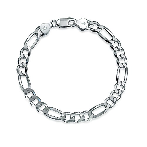 (Mens Figaro Link Bracelet Engravable 180 Gauge Heavy Polished 925 Sterling Silver Made In Italy)