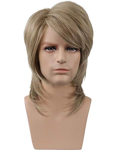 Topwigy 70s 80s Wig for Men Mullet Wig Halloween Costume Fancy Party Cosplay Wig 16 Inches Synthetic Rock Punk Wig Blonde