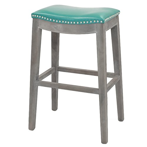 New Pacific Direct 198631B-323 Elmo Bonded Leather Bar Stool Furniture, Turquoise
