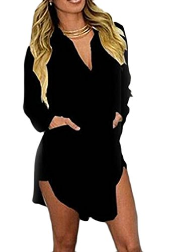 Neck Shirts Sexy Women Long Black Jaycargogo Sleeve Sheer Chiffon V Dress HxXqqRfO