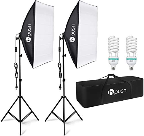 HPUSN Softbox Lighting Kit Professional Studio Photography Equipment Continuous Lighting with 85W 5400K E27 Socket and 2…