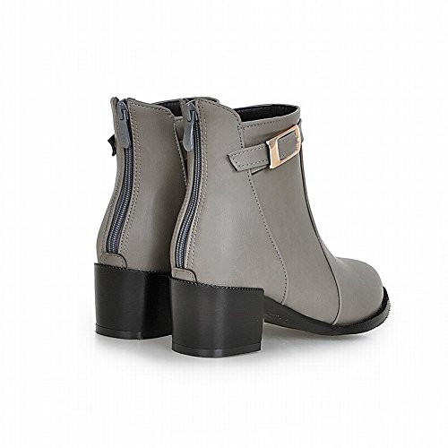 Carolbar Womens Zipper Buckle Fashion Casual Chunky Mid Heel Short Boots Grey XoVeLH6e