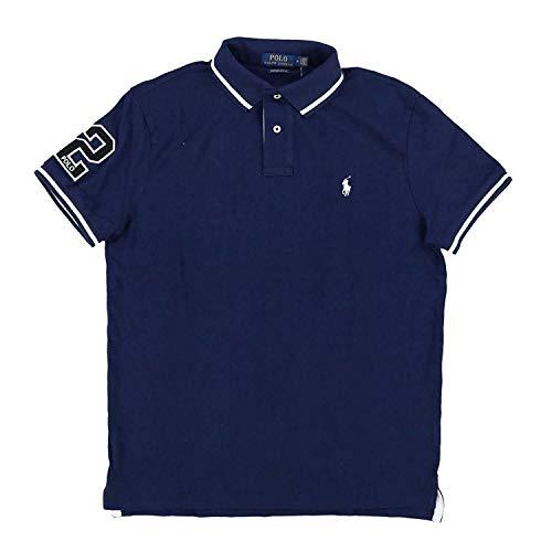 (Polo Ralph Lauren Mens Custom Slim Fit Mesh Striped Collar Polo Shirt (Medium, Navy))