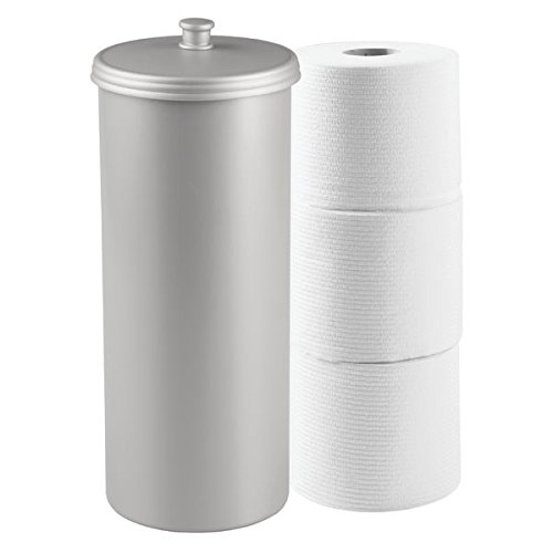 mDesign Bathware, Free Standing Toilet Paper Roll Holder for Bathroom Storage - Gray, (Toilet Paper Canister)