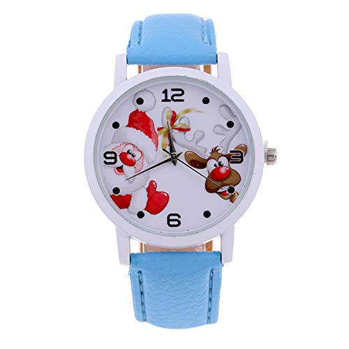 Elegance Stainless Steel Analog - 856store Funny Kids Arabic Numbers Santa Claus Deer Faux Leather Wrist Watch Christmas Gift - Sky Blue
