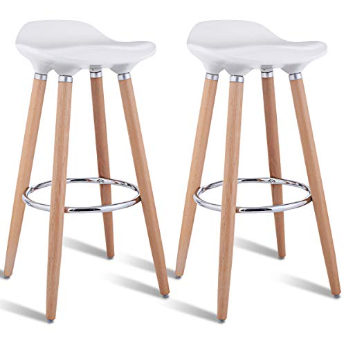 COSTWAY Set of 2 Barstools Modern Counter Height Bistro Pub Side Chairs with Wooden Legs White