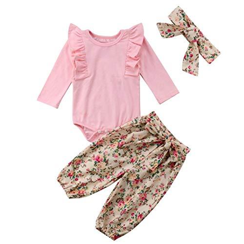 PVSECTOR Baby Girls Outfits Ruffle Heart Print Romper Bodysuit Floral Stripe Pants Set Matching Bowknot Headband (Pink 2, 70/(0-6M))