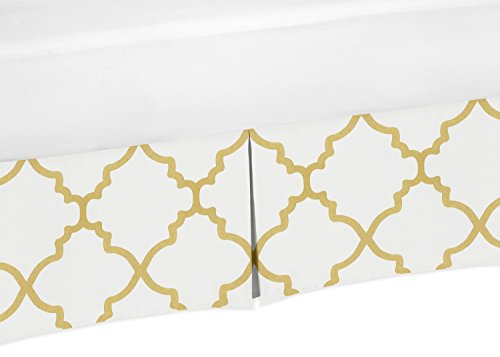 Sweet Jojo Designs Toddler Bed Skirt for Girls White and Gold Trellis Lattice Bedding Sets by Sweet Jojo Designs